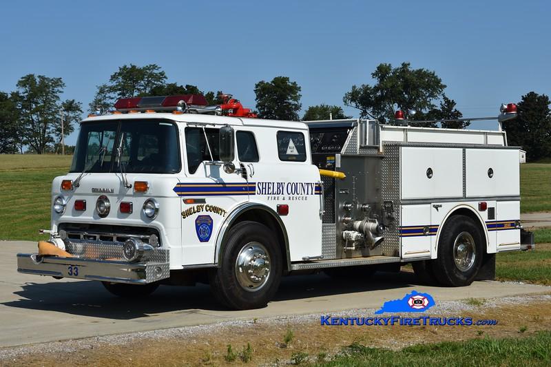 RETIRED <br /> Shelby County Engine 3333<br /> x-Engine 3332 <br /> 1987 Ford C-8000/Grumman 1250/600/25<br /> Greg Stapleton photo
