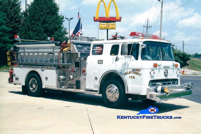 <center> RETIRED <br> Shelby County  Engine 3332  <br> x-Engine 310 <br> 1987 Ford C-8000/Grumman 1250/600/25 <br> Greg Stapleton photo </center>