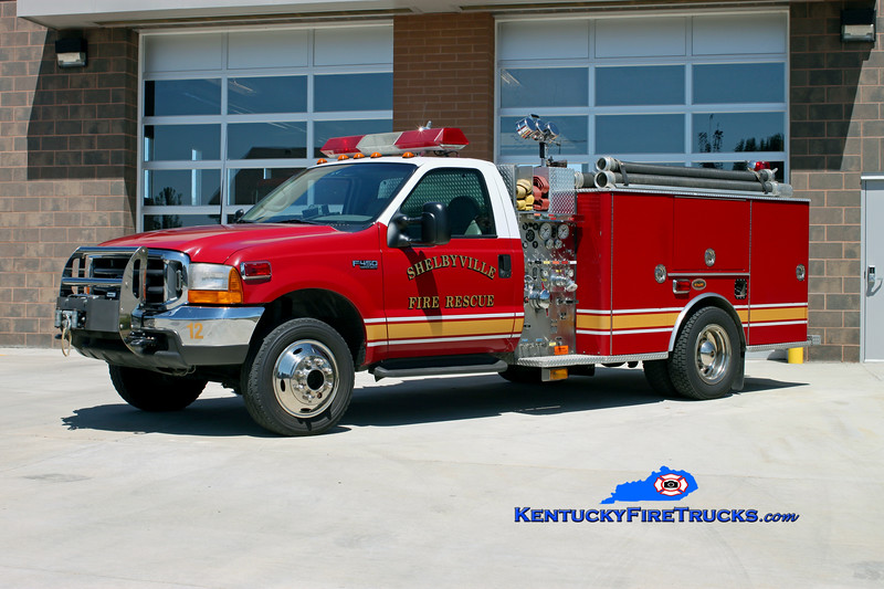<center> RETIRED <br> Shelbyville  Squad 32  <br> 1998 Ford F-450 4x4/KME 500/250 <br> Kent Parrish photo </center>