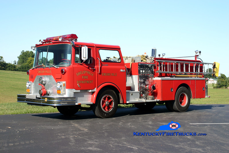 <center> RETIRED <br> Shelbyville  Engine 2  <br> 1973 Mack CF 1000/500 <br> Kent Parrish photo </center>