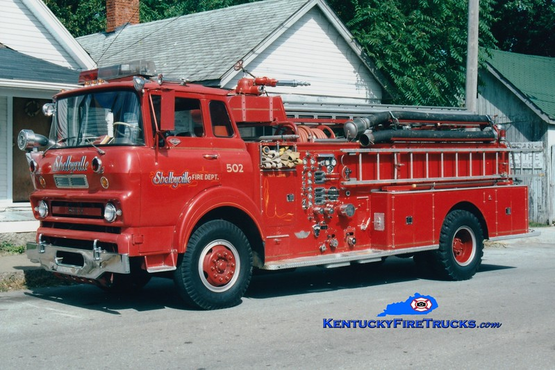 <center> RETIRED <br> Shelbyville  Engine 502 <br> 1968 GMC TC7000/American 1000/500 <br> Greg Stapleton photo </center>