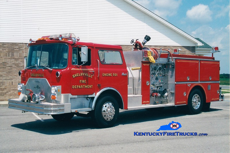 RETIRED<br /> Shelbyville Engine 501<br /> 1987 Mack CF/Grumman 1500/600<br /> Greg Stapleton photo
