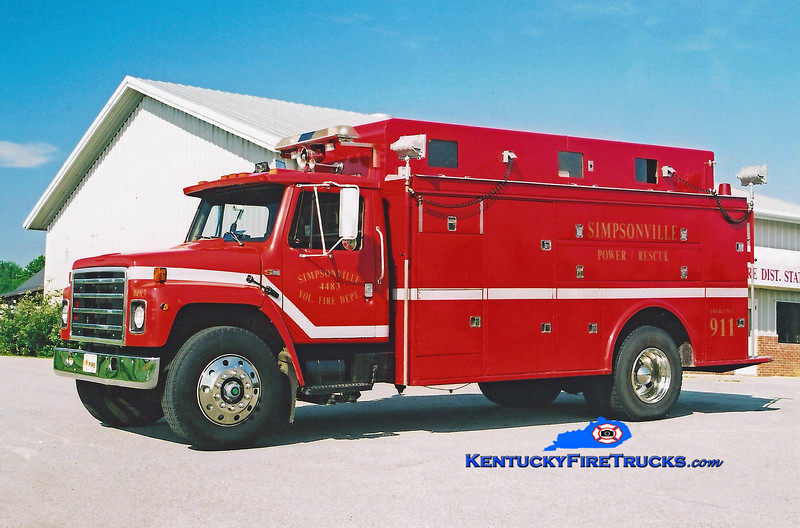 <center> RETIRED <br> Simpsonville  Rescue 4483 <br> x-Plano, IL <br> 1983 International S1900/1962 Welch <br> Kent Parrish photo </center>