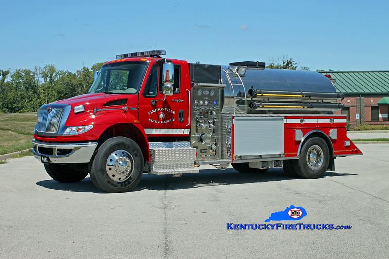 <center> Simpsonville  Tanker 4461 <br> 2008 International 4400/US Tanker 1000/2200<br> Kent Parrish photo </center>