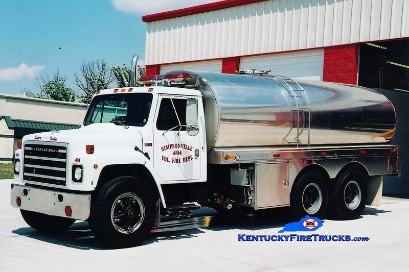 RETIRED<br /> Simpsonville  Tanker 404<br /> 1983 International S/Bluegrass 0/3200<br /> Greg Stapleton photo