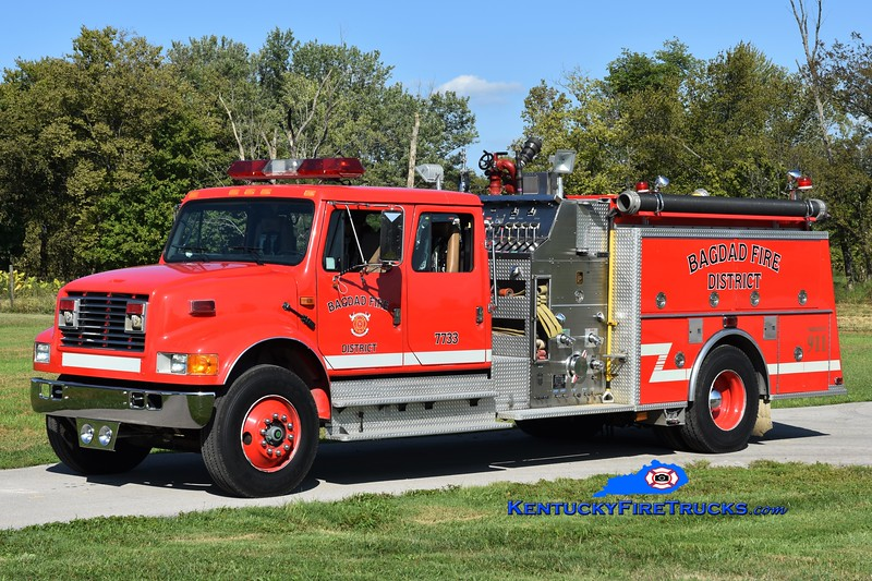 Bagdad  Engine 7733<br /> x-Simpsonville, KY<br /> 1993 International 4900/KME 1250/1000<br /> Greg Stapleton photo