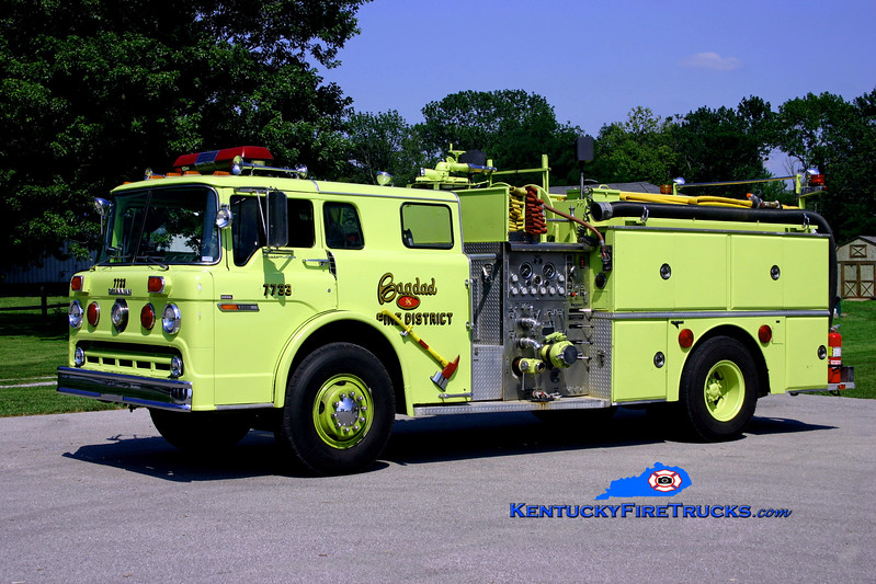 <center> RETIRED <br> Bagdad  Engine 7733  <br> 1980 Ford C-8000/Grumman 1000/750 <br> Kent Parrish photo </center>