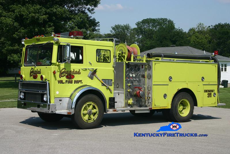 <center> RETIRED <br> Bagdad  Engine 7731  <br> x-E Brunswick, NJ <br> 1976 Mack MB/Grumman-Howe  1000/750 <br> Kent Parrish photo </center>