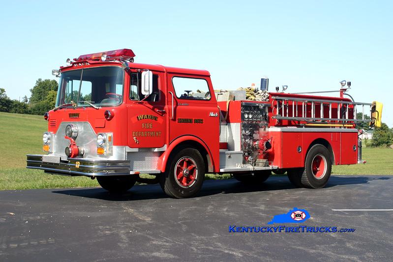 <center> RETIRED <br> Waddy  Engine 8832 <br> x-Shelbyville, KY <br> 1973 Mack CF 1000/500 <br> Kent Parrish photo </center>