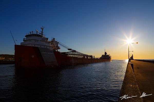 The John G. Munson inbound early on a calm summer morning