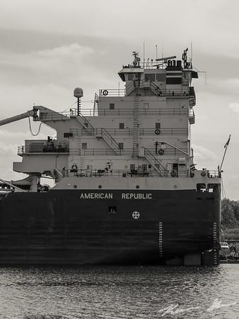 American Republic undergoing repairs at Fraser Shipyards
