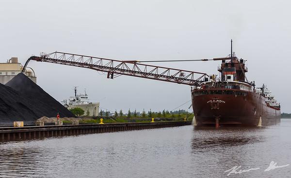 Kaye E. Barker unloading coal at the Cutler Stone dock