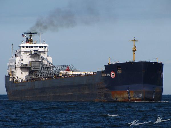 The John B. Aird arrives via the Duluth Ship Canal