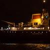 Cedarglen arrives on a misty evening to load at the Hallet dock