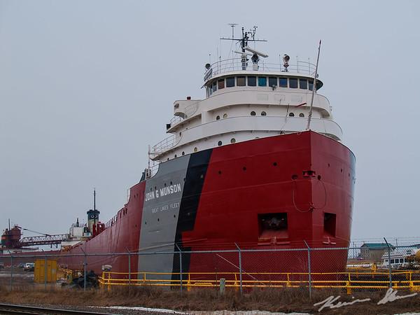 John G. Munson in drydock at Fraser Shipyards