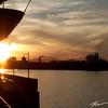 Canadian Progress sailing towards the sunset at the Soo Locks
