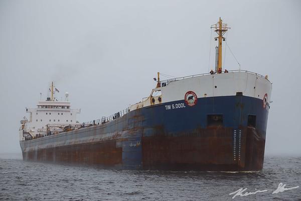 The Tim S. Dool arrives via the Duluth Ship Canal on a foggy morning