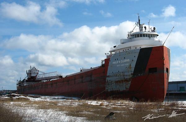 Philip R. Clarke riding high at her layup berth at Port Terminal