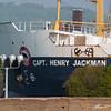 Bow of the Capt. Henry Jackman under the lift bridge