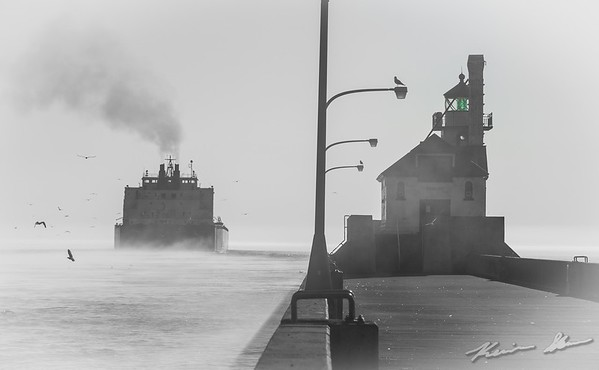 The Mesabi Miner departs on a hazy morning
