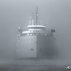 Alpena glides towards Lake Superior on a foggy summer morning