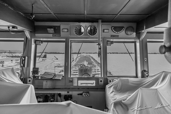 Looking forward from the pilothouse of the American Spirit in winter layup