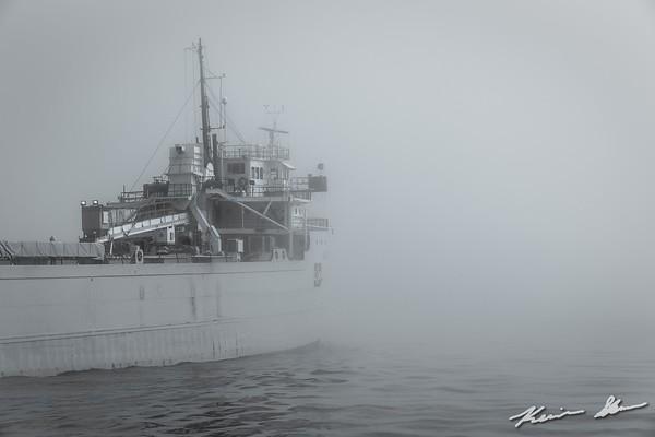 Alpena glides towards Lake Superior on a foggy summer morning
