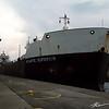 Atlantic Superior departs the Soo Locks as evening sets in