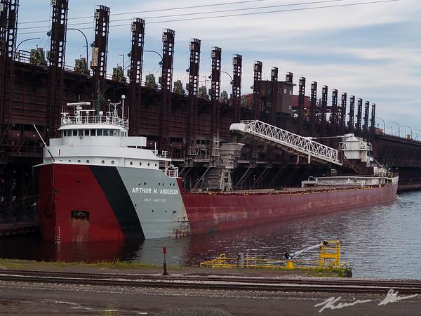 The Arthur M. Anderson unloading limestone at the CN ore dock