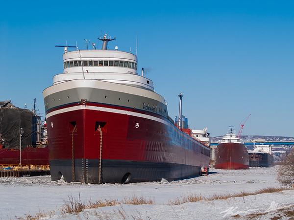 Freshly repainted Edward L. Ryerson resting at Fraser Shipyards