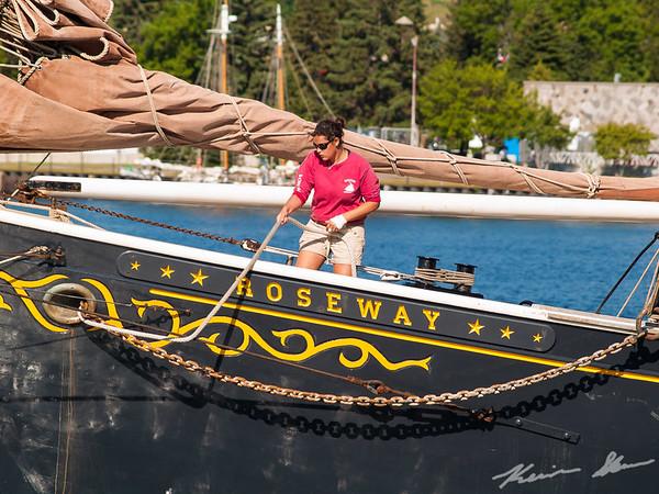 Line handler on the sailing vessel Roseway