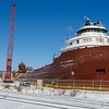 The Kaye E. Barker spending the winter in dry dock at Fraser Shipyards.