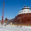The Kaye E. Barker spending the winter in dry dock at Fraser Shipyards.