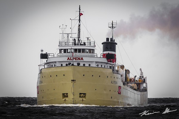 A fully loaded Alpena enters Duluth to discharge cement
