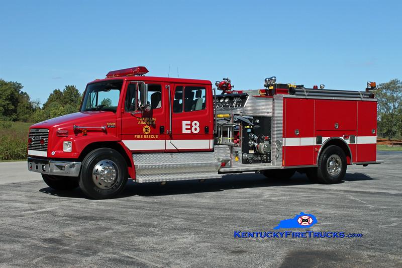 <center> Franklin-Simpson  Engine 8  <br> x-City of Franklin <br> 1999 Freightliner FL80/Pierce 1250/1000 <br> Kent Parrish photo </center>