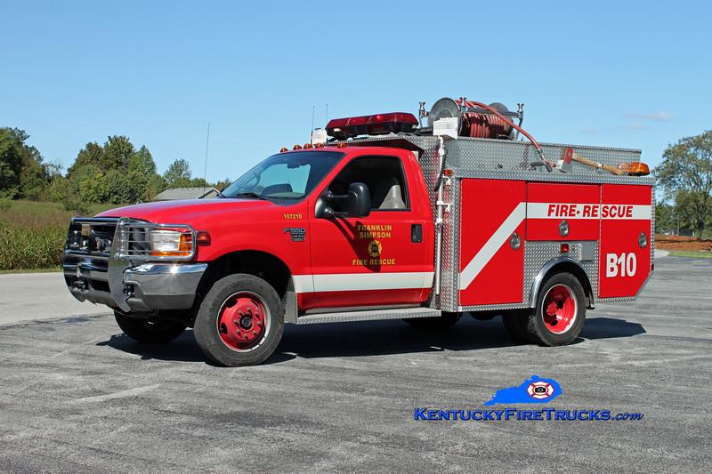 <center> Franklin-Simpson  Brush 10  <br> x-Simpson County <br> 1998 Ford F-550 4x4/EVI 250/450 <br> Kent Parrish photo </center>