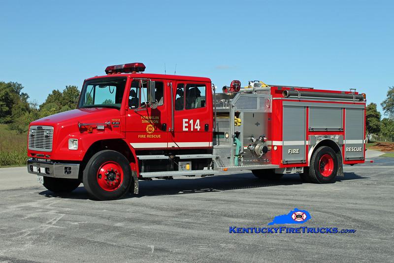 <center> Franklin-Simpson  Engine 14  <br> x-Simpson County <br> 2003 Freightliner FL70/E-One 250/1000 <br> Kent Parrish photo </center>
