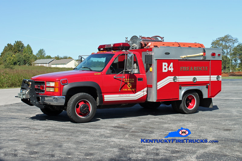 <center> Franklin-Simpson  Brush 4  <br> x-City of Franklin <br> 1996 GMC 1500 4x4/Becker 250/300 <br> Kent Parrish photo </center>