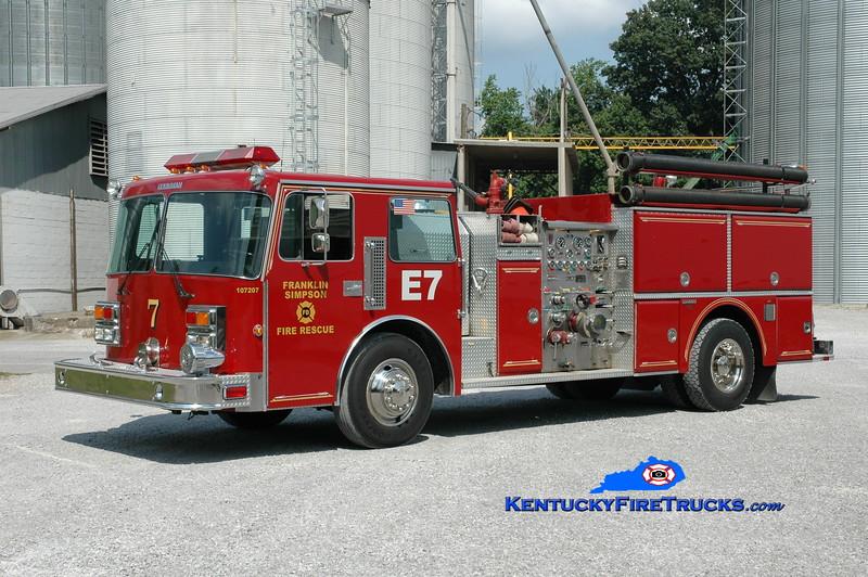 <center> Franklin-Simpson  Engine 7  <br> x-City of Franklin <br> 1987 Pemfab/Grumman 1500/750 <br> Greg Stapleton photo </center>