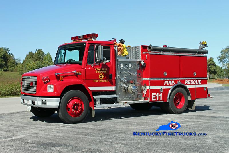 <center> Franklin-Simpson  Engine 11  <br> x-Simpson County <br> 1998 Freightliner FL80/Ferrara 1250/1000 <br> Kent Parrish photo </center>
