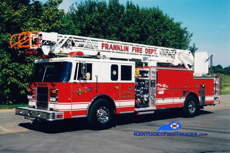 <center> *Now with the Franklin-Simpson FD <br> Franklin  Ladder 1  <br> 1997 Pierce Lance 1500/300/75' <br> Greg Stapleton photo </center>