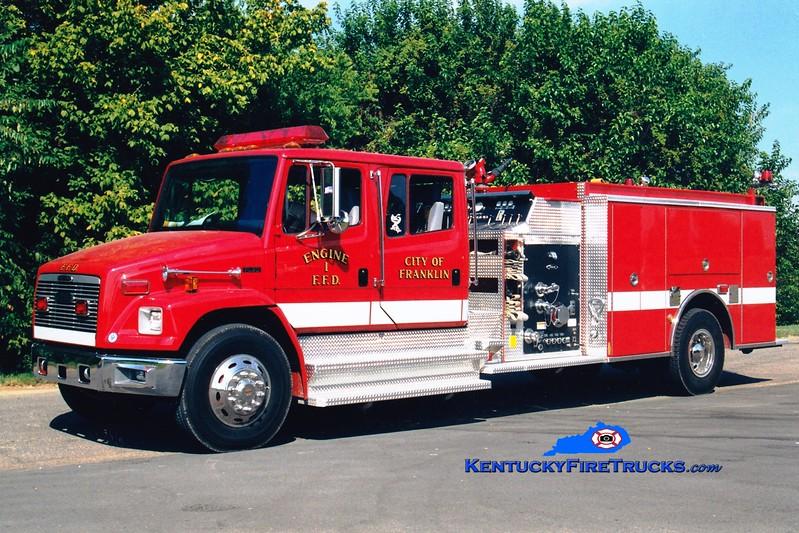 <center> *Now with the Franklin-Simpson FD <br> Franklin-Simpson  Engine 8  <br> 1999 Freightliner FL80/Pierce 1250/1000 <br> Kent Parrish photo </center>