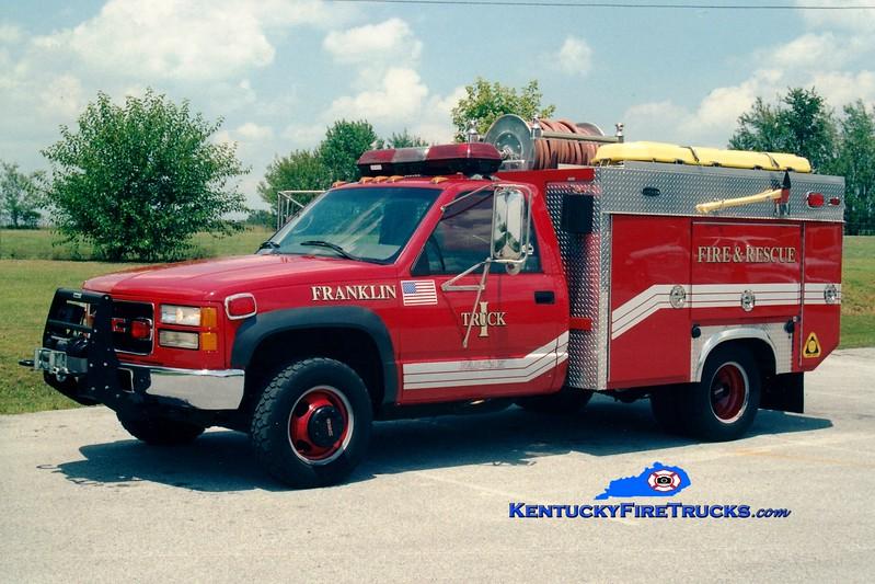 <center> *Now with the Franklin-Simpson FD <br> Franklin  Truck 1  <br> 1996 GMC 1500 4x4/Becker 250/300 <br> Greg Stapleton photo </center>