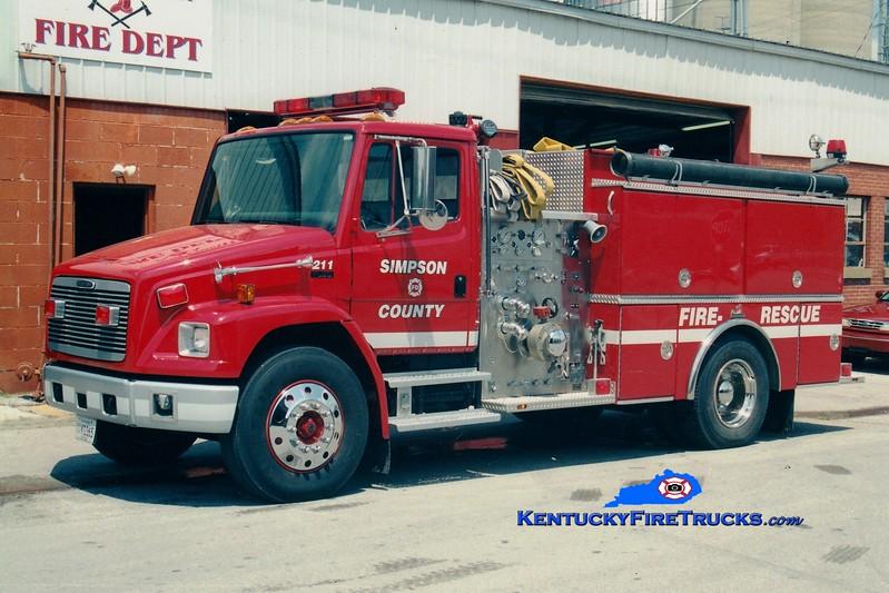 <center> *Now with the Franklin-Simpson FD <br> Simpson  County Engine 211  <br> 1998 Freightliner FL80/Ferrara 1250/1000 <br> Greg Stapleton photo </center>