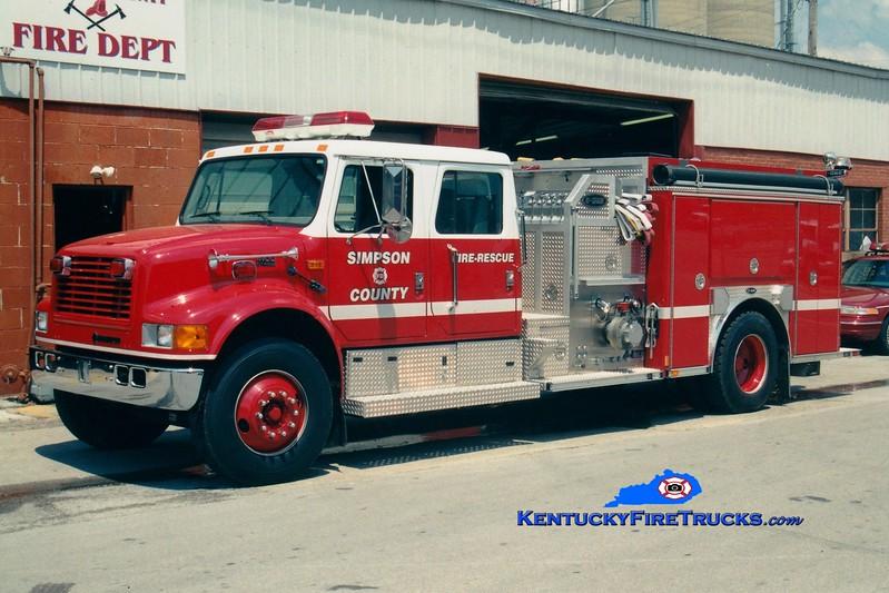<center> *RETIRED <br> Simpson  County Engine 214  <br> 1999 International 4900/E-One 1250/1000 <br> Greg Stapleton photo </center>