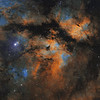 IC 1318 in Cygnus - two panel mosaic in Hubble Palette