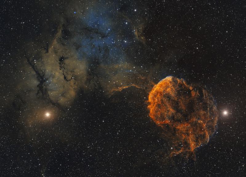 Jellyfish Nebula (IC 443 & IC 444) in Gemini - two panel mosaic