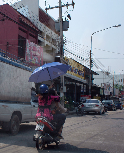 Thai's do not like to expose their skin to the sun.