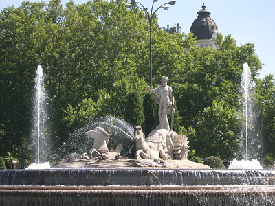 Plaza Cánovas del Castillo, featuring 18th Century Fuente de Neptuno (with Neptune in his chariot pulled by a pair of horses)