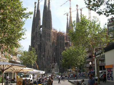 Antonio Gaudí's (1852 - 1926) controversial La Sagrada Familia, under construction since 1882 and still an estimated 30 years from completion